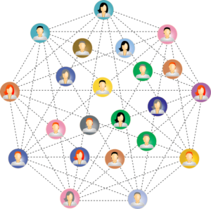Red de personas que establecen conexiones entre si