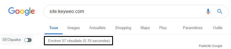 recherche des pages keyweo indexées dans la search bar google