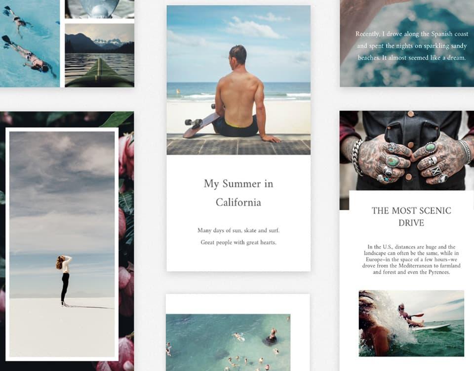 Exemples de templates pour créer des stories Instagram sur Unfold
