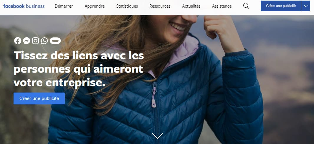 Page d'accueil Facebook Business