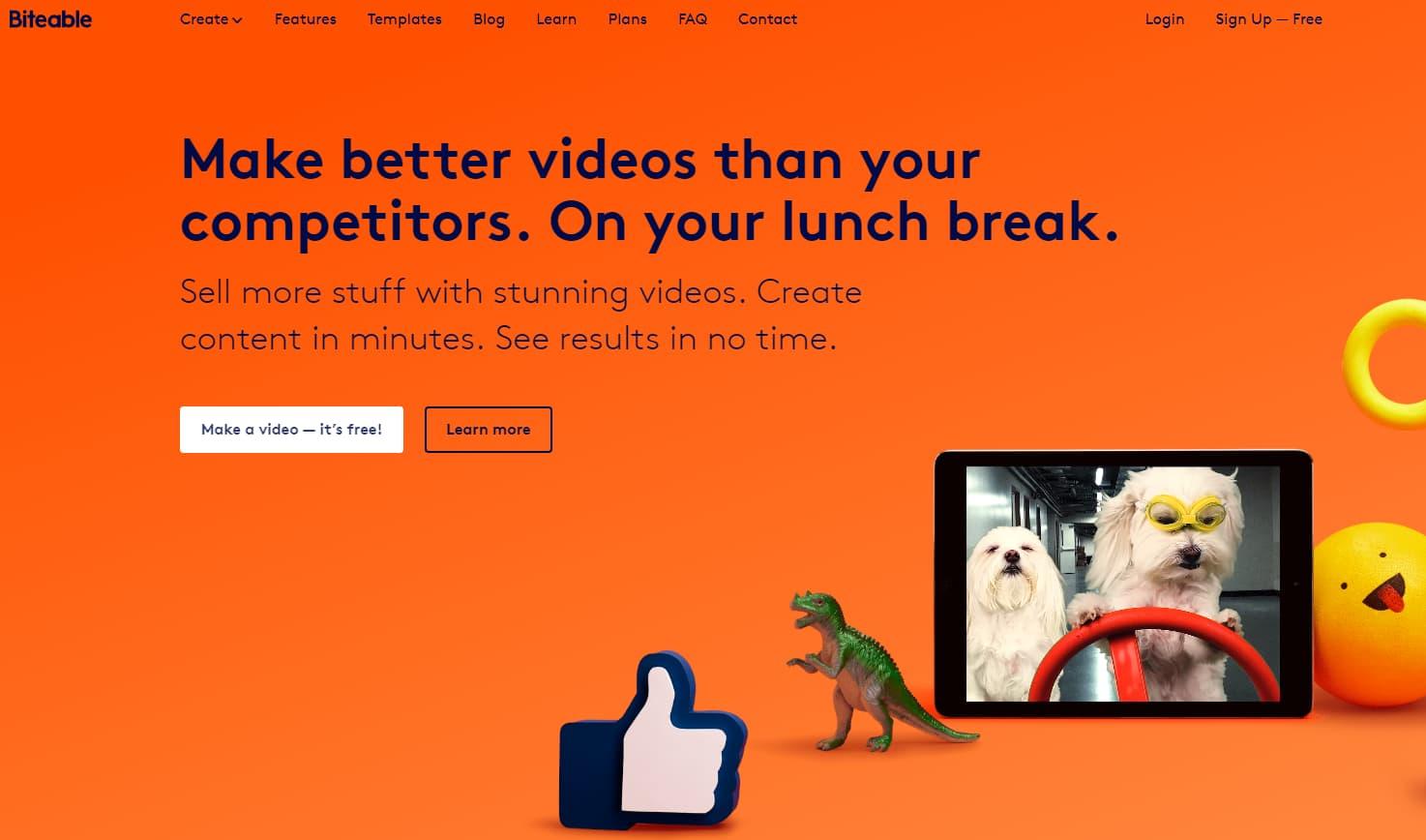 Home page de Biteable