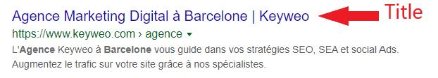 Exemple d'une balise title dans Google