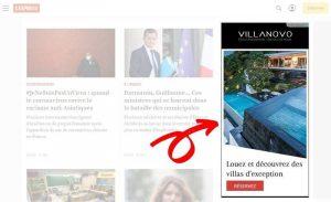 Ejemplo de un anuncio en el sitio web de un editor
