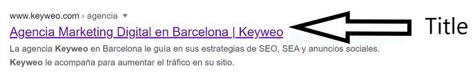Ejemplo de una etiqueta de título en Google