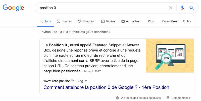 Exemple d'une position zéro sur Google
