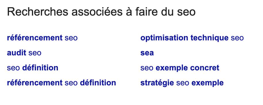 Recherches associées proposées par Google