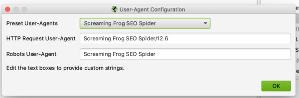 Agente de usuario Screaming Frog
