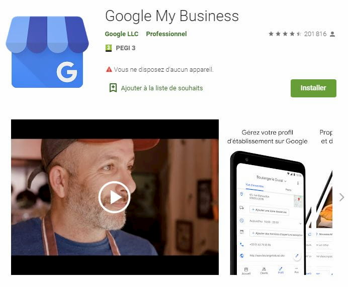Application Google My Business sur Google Play