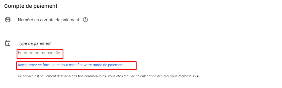 information de paiement google ads