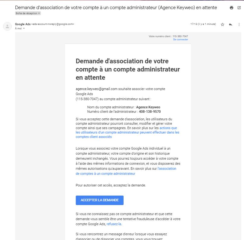 email de validation